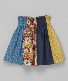 Pinning this so I can make one like it Blue & Yellow Floral Panel Shirred Skirt - Toddler & Girls #zulily #zulilyfinds