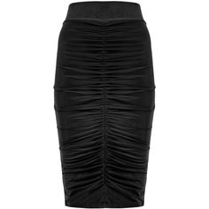 Dorothy Perkins Quiz Black Stretch Ruched Skirt ($29) ❤ liked on Polyvore featuring skirts, silver, dorothy perkins, gathered skirt, stretchy skirts, ruched skirt and black stretchy skirt