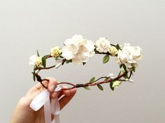 Woodland delicate white rose flower crown/ wedding by AbbeysBlooms