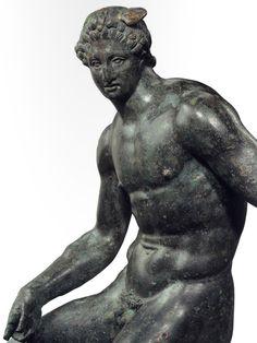 A bronze statue of Hermes, Hellenistic Greek, 3rd century B.C.