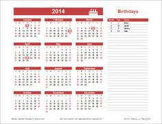 Yearly Birthday Calendar Template for Excel: You can update the year after listing the birthdays.