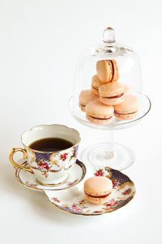 tea party with mandarin & rhubarb macarons