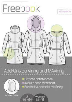 Freebook zu den Ebooks MaVinny_Vinny - Schnittmuster und Anleitung als PDF Datei in A4