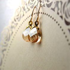 Swarovski Briolette Earrings Gold Filled Earrings by Phoebedreams