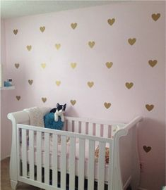100 Gold Metallic Hearts Wall Stickers Nursery Wall by QuoteMyWall