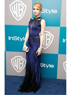 Emma Roberts in Zac Posen. Such a dramatic blue