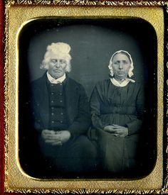 There is something so captivating and wonderful about the elderly couple - he with his wild white locks, she with her almost pensive expression - that instantly makes one fall in love with this stellar 1850s daguerreotype.