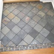 Grey Tile Entry Design Ideas, Pictures, Remodel and Decor