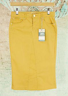 "Adorable Mustard Yellow Modest Midi Pencil Skirt Size 1 length 26"" - Love My Jean Skirt - Modest Jean Skirts"