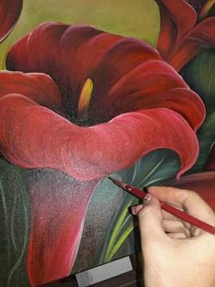 Tulip Painting, Fruit Painting, Fabric Painting, Painting & Drawing, Acrylic Painting Techniques, Painting Videos, Easy Paintings, Acrylic Painting Canvas, Painting People