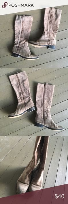 Carlos by Carlos Santana knee high tan boots Size 7.5 Carlos by Carlos Santana boots that sit right under the knee. Tan suede with lace up on the outside. Adorable and only worn a few times. These can be dressed up or dressed down for a more casual look! Carlos Santana Shoes Winter & Rain Boots