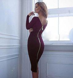 Zipper Long Sleeve Pure Color O-neck Knee-Length Dress