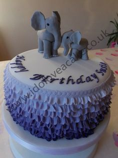 Ombre Cake for a Lady who Loves Elephant  Cake by IDoLoveaCake