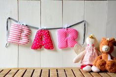 Cheerful soft letter name banner the will make your personalized nursery décor simple and easy. Makes a great personalized baby shower gift as well.