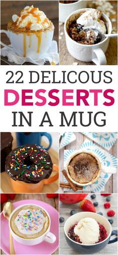 Desserts in a mug are my new favorite thing! These 22 Mug Cake Recipes are quick, easy, and makes very little mess. 22 Mug Cake Recipes For most of these, everything gets poured and mixed right Microwave Mug Recipes, Mug Cake Microwave, Baking Recipes, Cake Recipes, Easy Microwave Desserts, Mug Dessert Recipes, Microwave Baking, Steak Recipes, Mug Cakes
