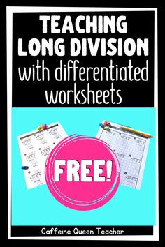 Grab these differentiated long division worksheets for FREE and dramatically boost student success and your teaching success! Teaching Long Division, Long Division Worksheets, Dividing Fractions, Multiplying Fractions, Equivalent Fractions, Multiplication, Teaching Strategies, Division Strategies, Elementary Math