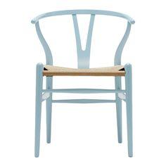 Chaise Wishbone CH24 hêtre bleu clair / Assise corde naturelle - Carl Hansen