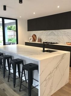 Neolith Calacatta island and splash back. Neolith Calacatta is a porcelain bench… Neolith Calacatta island and splash back. Neolith Calacatta is a porcelain bench top and a world leader in ultra compact technology. The benchtops start at thick Luxury Kitchen Design, Kitchen Room Design, Home Decor Kitchen, Interior Design Kitchen, Home Kitchens, Kitchen Decorations, Interior Ideas, Kitchen Ideas, Ikea Kitchen