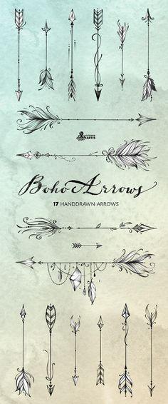 Boho Arrows 17 hand drawn clipart Tribal Native D Body Art Tattoos, New Tattoos, Cool Tattoos, Tatoos, White Tattoos, Ankle Tattoos, Tattoo Diy, Tattoo Small, Arrow Drawing