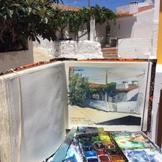 Rural litle house  at Algarve.  Ballpoint pen#watercolors#sketchbook Fabriano artístico