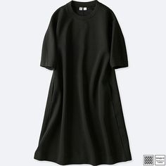 WOMEN U WOOL-BLEND SWEATSHIRT 3/4 SLEEVE DRESS, BLACK