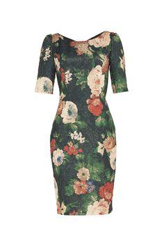 #mostrami Sukienka KAMILLA w kwiaty zielona