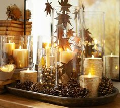 Pinecone/Candle Centerpiece | from Pottery Barn catalog | with Luminara Candles