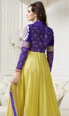 Beautiful 'Bling Passionate Yellow' #Anarkali at bonitto.in @ Rs 4199