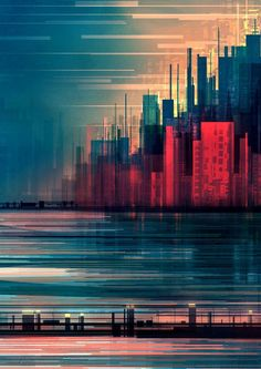 Architecture with Linear Cityscape Paintings. To see more art and information about Scott Uminga click the image. City Painting, Oil Painting Abstract, Painting Metal, Matte Painting, Red Wall Art, Wall Art Prints, City Art, Abstract City, Red Abstract Art