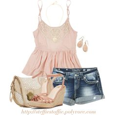 """""""Miss Me Shorts & Pink Crochet Top"""" by steffiestaffie on Polyvore"""