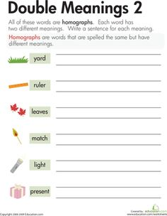 This is an assessment worksheet over homographs/multiple meaning ...