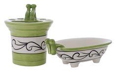Bulk Wholesale Handmade Ceramic Bath Accessories Set (2 Items) – Hand-Painted Green Black & White - Bath Ensemble