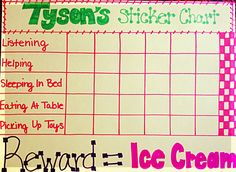I just made a chart like this for E, using hers as a template. Looking forward to when her chart fills up so we can get some frozen yogurt or Friendly's sundaes! ;)    Toddler Reward System - Sticker Chart
