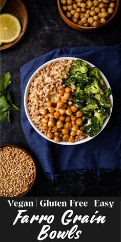 This hearty farro grain bowl is topped with roasted broccoli, crispy chickpeas, and a lemon-tahini dressing for a deliciously simple meal! This meatless meal has 26g of protein for serving! It's a high protein plant. based dinner.