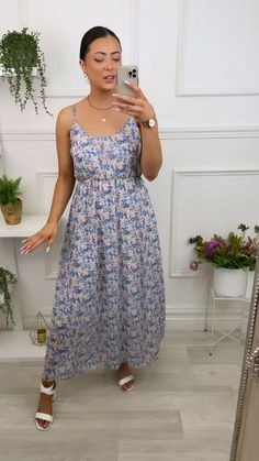 Blue summer dress, maxi dress, floral dress, cami dress, summer cami dress, blue maxi dress, virgo Blue Summer Dresses, Blue Maxi, Cami, Floral, Style, Fashion, Swag, Moda, Fashion Styles