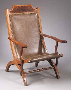 "Campeche Chair. Mahogany with Light Wood Banding on Crest and Leather Seat & Back. Louisiana. Circa 1820. 42"" x 23"" x 19-1/2""."