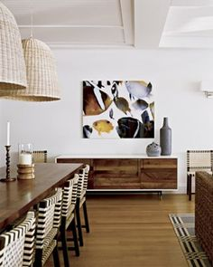 ViaMeta Interiors: Gorgeous Dining room. Love the simplicity, sideboard, art, and pendants!