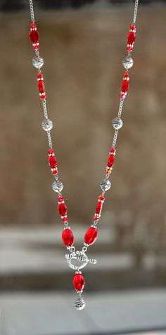 Red Necklace, Semi Precious Gemstones, Glass Beads, Pearls, Facebook, Crystals, Handmade, Jewelry, Stud Earrings