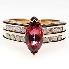 Estate Jewelry - Pink Tourmaline & Diamond Ring Solid 14K Gold