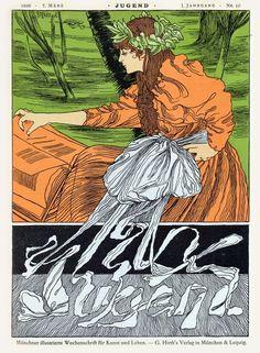 indigodreams:  Die Jugend -  1896-03-07  Cover illustration for 'Jugend' magazine by Joseph Rudolf Witzel, 1896.