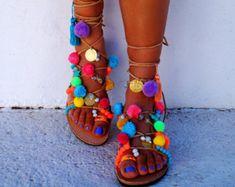 Sandale de dentelle-up unique fait main en par MarbeUniqueHandcraft