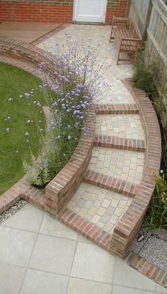 Even the smallest garden can become an inspirational space with Outdoor Creations' small garden design. Front Gardens, Small Gardens, Outdoor Gardens, Garden Paving, Garden Paths, Garden Landscaping, Contemporary Garden Design, Small Garden Design, Garden Stairs