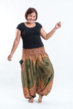 Plus Size Geometric Mandalas Women's Harem Pants in Olive