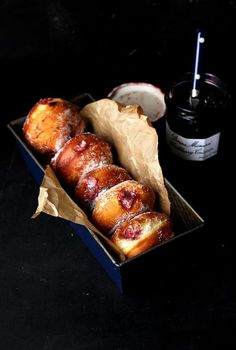 the lightest yeasted donuts of all time, stuffed with vanilla custard and blackberry jam