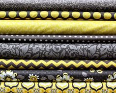 8 Yellow & Gray Fat Quarter Fabric Bundle by CreativeFabricGirls, $21.00