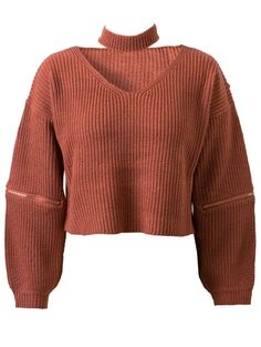 SHARE & Get it FREE | Pure Color V Neck Long Sleeve Zipper JumperFor Fashion…
