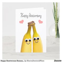 Happy Anniversary Bananas Humor Holiday Card Anniversary Greeting Cards, Happy Anniversary, Create Your Own, Create Yourself, Zazzle Invitations, Bananas, Holiday Cards, Humor, Prints