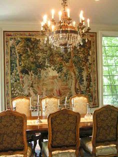 beautiful tapestry,compliments the chairs and the color in the woods.