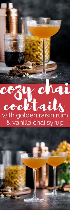 a cozy chai cocktail with golden raisin-infused spiced rum & homemade vanilla chai simple syrup. this chai cocktail is just as perfect for a cozy date night in as it is for celebrating with friends & loved ones this winterseason. the perfect cozy winter nightcap. cheers! #playswellwithbutter #chai #rum #hygge #datenightathome #cocktail #cocktailrecipe #wintercocktail #winterdrink #cozycocktail #cozy