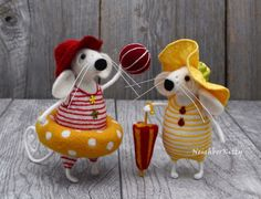 Needle felted Mice Set of 2 White mouse Red by NeighborKitty